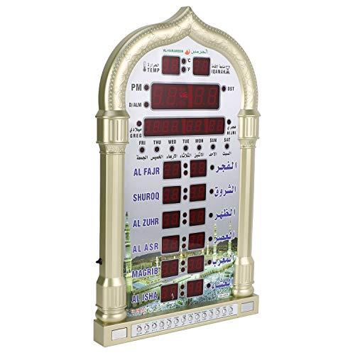 Mungowu Mezquita 12V Azan Calendario OracióN Musulmana Reloj de Pared Alarma RamadáN DecoracióN para el Hogar + Control Remoto Enchufe de la UE