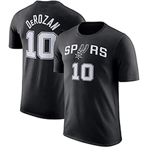 UIQB Spurs No.10 Camiseta de Baloncesto DeRozan, Deportes Chaleco de Competencia de Manga Corta, Suelta y Transpirable, Adecuada para Hombres y Mujeres (S-XXXL) black2-S