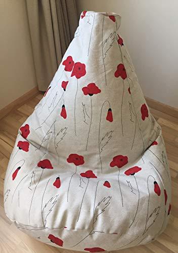Sitzsack Poppy Mohn Rot Leinen Bezug Skandinavischer Stil Sessel Sitzkissen Natürliche Stoffe Eko freundlich Mit Innenbezug OHNE FÜLLUNG