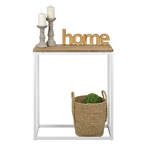 Bijzettafel iCub, afmetingen 70 x 35 x 80 cm, kleur wit, industriële vintage, consoletafel van massief grenenhout met stalen frame