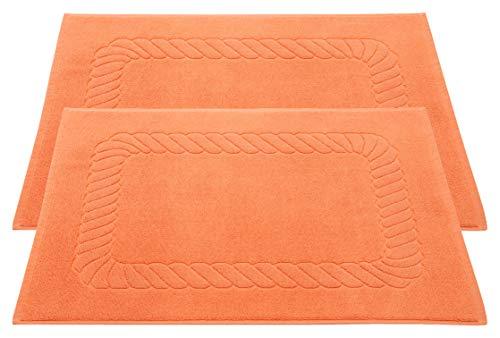 ZOLLNER Set de 2 Tapis de Bain, Coton, 50x70 cm, 740g/m², Orange