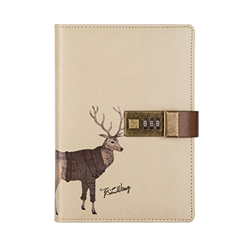 Crafted Notebook with Combination Lock Secret Diary Writing PU Leather Cute Animal Journal Notepad with Pen Holder for Girl and Boy Christmas or Valentine's Gift Refillable A5 112 Sheets (Elk)