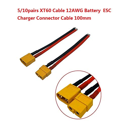 Best Bargain Parts & Accessories 5/10pairs/lot XT60 Cable 12AWG Battery ESC Charger Connector Cable ...