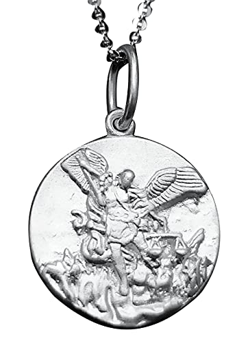 Sicuore Medalla Colgante San Miguel Arcangel - Plata de Ley 925 Incluye Cadena 45cm Y Estuche para Regalo (Plateado)