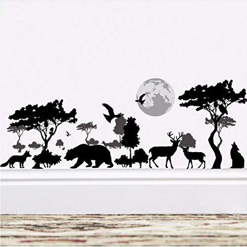Muurstickers 3D Cartoon dier hert vogel wolf bos dierentuin boom bloemen muur Stickers Home Decor voor slaapkamer woonkamer Kids kamer Art Poster