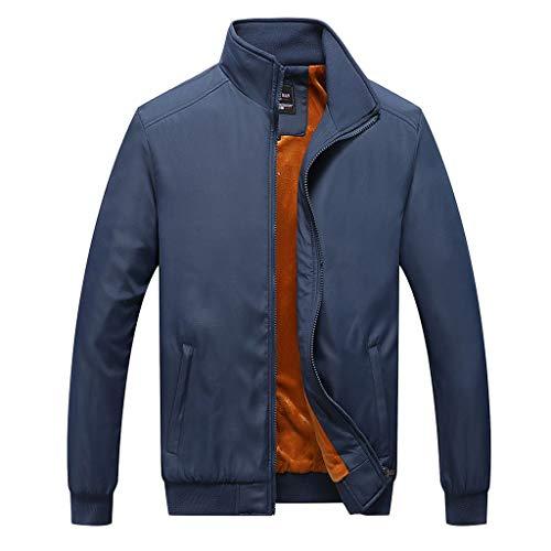 MAYOGO Herren Sweatjacke Warm Gefüttert Übergangsjacke Innenfutter Zip Softshelljacke Regenjacke Freizeit Outdoor Jacke (Dunkelblau, M)