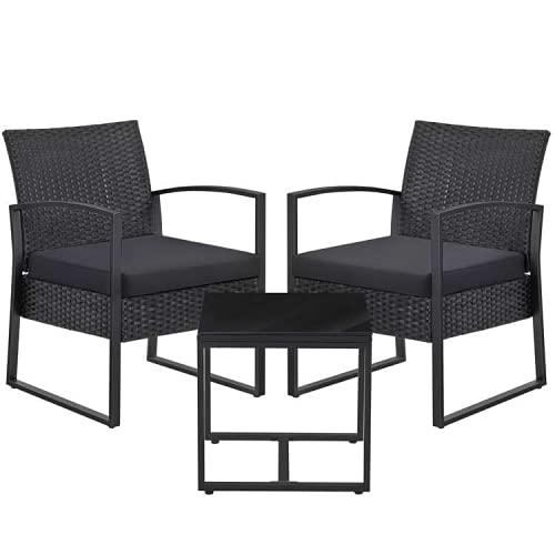SONGMICS 3-Piece Patio Set Outdoor Patio Furniture Sets, PE Rattan, Outdoor Seating for Bistro Front Porch Balcony, Easy to Assemble, 2 Chairs and 1 Table, Black GGF010B02