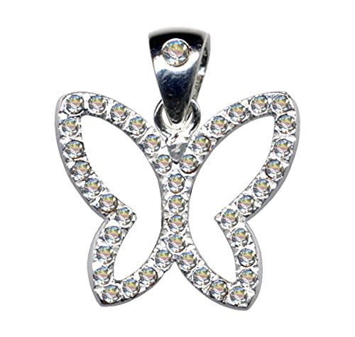 Colgante de mariposa blanco con alas plegables, de plata de ley 925 con circonitas y cristales de circonita, 51054