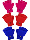 Boao 3 Pairs Kids Fingerless Mittens Convertible Flip Top Gloves Children Soft Knitted Gloves for Boys Girls (Rose Red, Red, Blue)