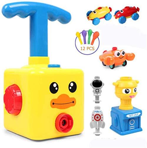 Inertial Power Ballonauto, Ballonbetriebene Trägerrakete, pädagogisches DIY-Spielzeug Kinder-Wissenschaftsspielzeug Kinder (Gelbe Ente)