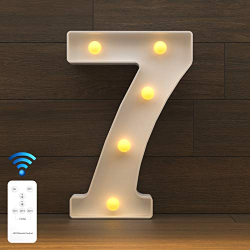 YOUZONE LED Letter Lights Marquee Alphabet Light Up Letters with Remote Control Timer Dimmable Battery Powered for Events Wedding Party Birthday Home Bar Decoration (RC-7)