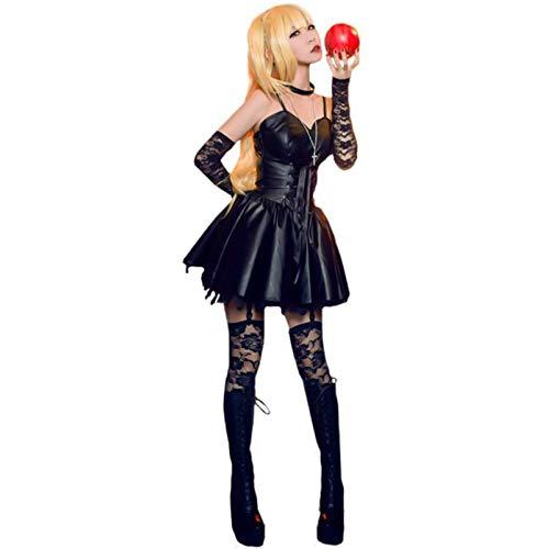 YLJXXY Death Note Disfraz de Cosplay Amane Misa Mini Vestido Moda Cuero de imitacin Negro Falda de Carnaval de Halloween con Guantes Calcetines Collar Conjunto Completo Vestidos de Fiesta,L