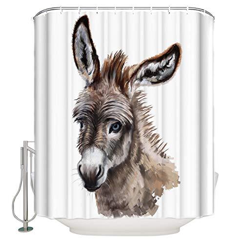 Bedliving Duschvorhang mit Esel-Motiv, wasserdicht, mit Haken, Badezimmerdekoration, 91,4 x 182,9 cm (B x L)