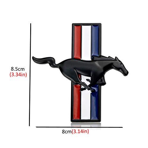 L&U 3D-Metall-Auto-Seiten-Emblem Logo-Kennzeichen-Aufkleber Abzeichen für Ford Mustang Running Wild Horse Aufkleber Satz von 2,Schwarz