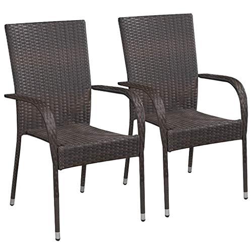 Festnight Lot de 2 Chaises à Manger en Résine Tressée Chaises de Jardin Chaise d Exterieur Chaise pour terrasse Fauteuil Marron