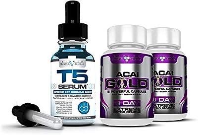 Complete Detox & Slimming/Weight Loss Bundle - T5 Fat burners Serum XT & Acai Berry Gold: (Maximum Strength 1 Month Supply)