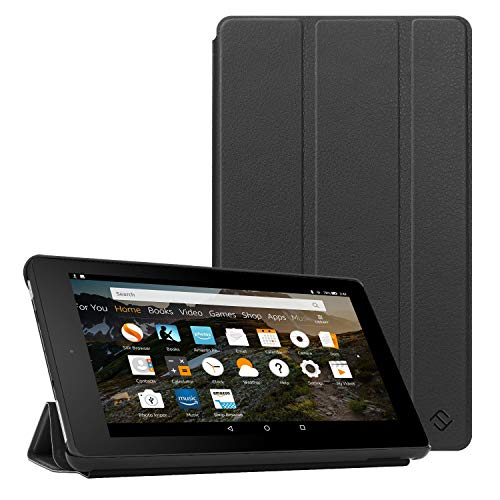 Fintie Slim Case for All-New Amazon Fire 7 Tablet (9th Generation, 2019 Release), Ultra Lightweight Slim Shell Standing Cover with Auto Wake/Sleep, Black