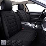 CAPITAUTO Leather Car Seat Covers, Waterproof Faux Leatherette Cushion Cover for Cars SUV Pick-up Truck Universal Fit Set for Auto Interior Accessories(2 Front Black)