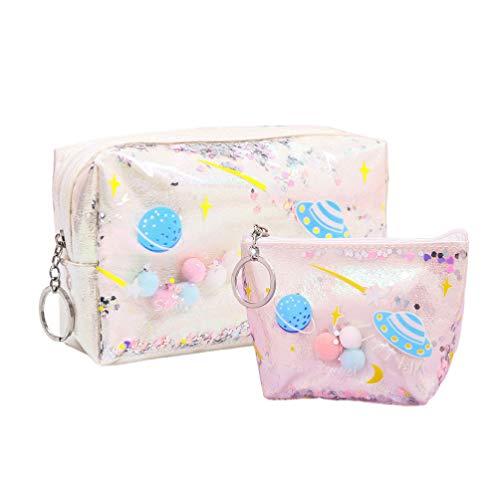 FENICAL sac cosmétique univers modèle porte-monnaie portable maquillage sac étanche pochette cosmétique pour les filles 2pcs (blanc)