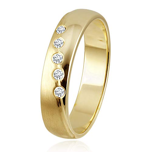 Diamond Line Damen - Ring 375er Gold 5 Diamanten ca. 0,08 ct.