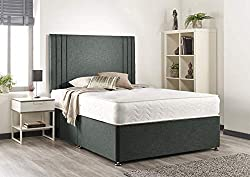 "Luxury Grey Linen Divan Base With 2 Drawers Same Side Comes With A Headboard 32"" high Hand Tufted Memory Sprung Mattress Mattress Tension: Medium Level of Support Please Read The Delivery Information Before Placing Any Orders"