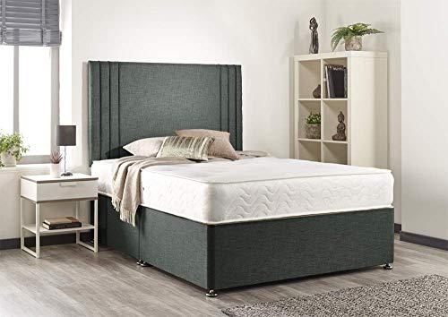 Bed Centre Manhattan Grey Linen Memory Foam Divan Set With Mattress, Headboard and No Drawers (Small single (75cm X 190cm))