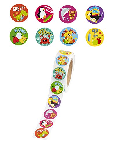 Rotolo da 1000 adesivi premio per bambini, motivazionali, con simpatici animali, per studenti, insegnanti, uso in aula, 8 motivi, diametro 3,8 cm