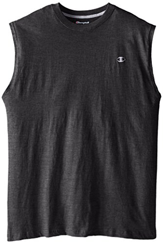 Champion Men's Big-Tall Jersey Muscle T-Shirt, Charcoal Heather, X-Large/Tall