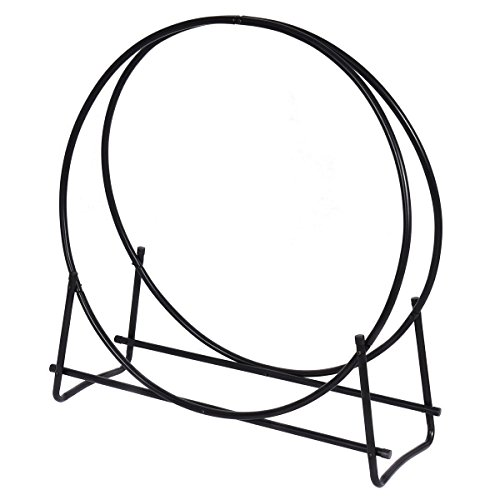Best Bargain TimmyHouse Log Hoop Tubular Steel Firewood Storage Rack Holder Round Display 40-Inch Ne...