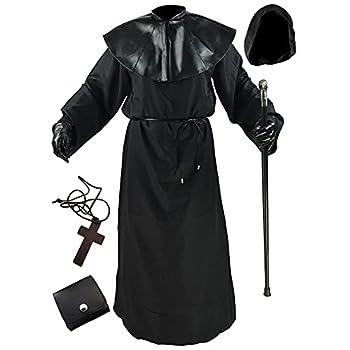 Absolute Vibe Plague Doctor Costume Halloween Medieval Monk Priest Renaissance Cosplay Cloak Robe Costume  M  Black