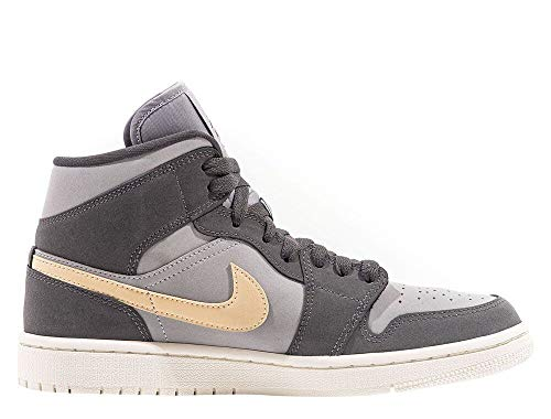 Nike Damen WMNS AIR Jordan 1 MID Basketballschuh, Iron Grey White Onyx Lt Smoke Grey, 38.5 EU