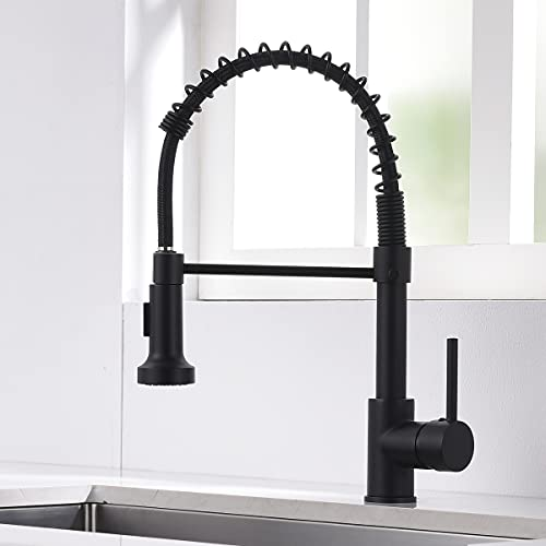 AIMADI Rubinetto da cucina con molla a spirale, rubinetto e doccetta estraibile, orientabile a 360°, in nero, miscelatore monoleva e spray pull-down, miscelatore ad alta pressione