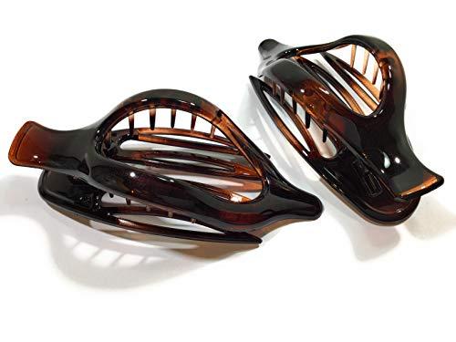 2 pinces à cheveux design courbes env. 12 cm havanna - marron