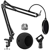 InnoGear Adjustable Mic Stand for Blue Snowball and Blue Snowball iCE Suspension Boom Scissor Arm Stand with Microphone Windscreen and Dual Layered Mic Pop Filter, Max Load 1.5 KG, Medium