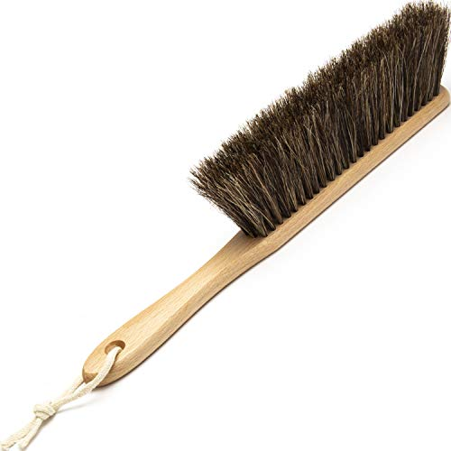 Horsehair Counter Duster with Wooden Handle - Dustpan Hand Broom Bench Brush for Cleaning Counter/Bed/Draft/Garden/Car/Clothes