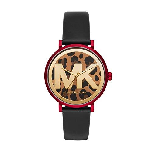Michael Kors Women's Addyson Aluminum Quartz Watch with Leather Strap, Gold, 18 (Model: MK2933)