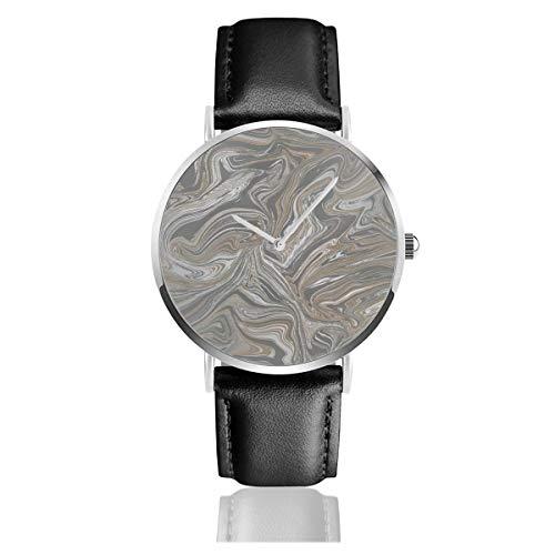 Prosecco Sparkle Marble Cobre Clásico Casual Moda Reloj de Cuarzo Acero Inoxidable Correa de Cuero Relojes