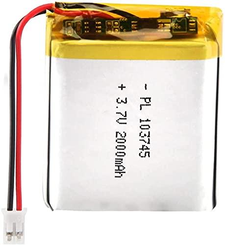 3.7V 2000mAh 103745 Paquete de batería de Iones de Litio Recargable de Litio de batería LIPO con Conector JST-4 Piezas