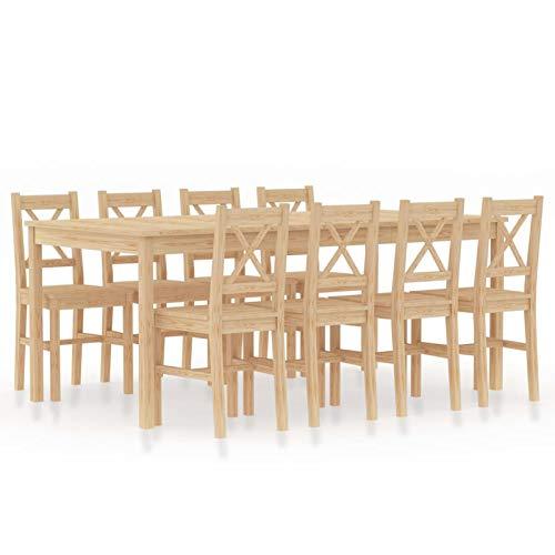 Tidyard Conjunto de Comedor 9 Piezas Mesa de Cocina con 8 Sillas Juego Muebles de Cocina Sala Salón Madera de Pino