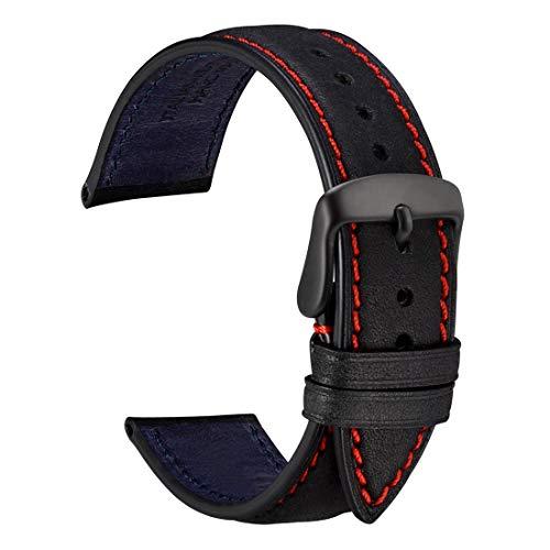 WOCCI 22mm Cinturino in Pelle Nabuk con Fibbia Nera, Cinturini di Ricambio (Nero)