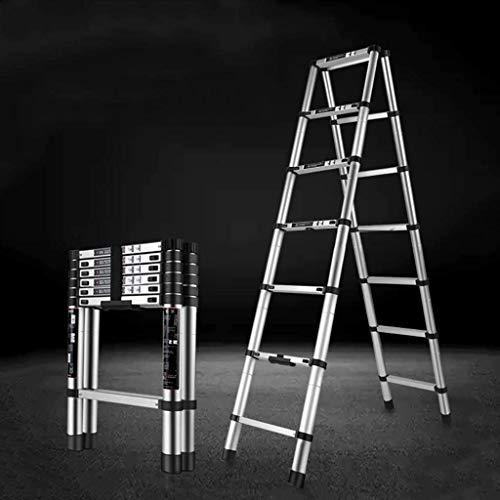 ZSPSHOP Hogar portátil multifunción Escalera telescópica Ingeniería Escalera Plegable de Aluminio de aleación de elevación del Espesamiento Escaleras (Size : 220 cm)