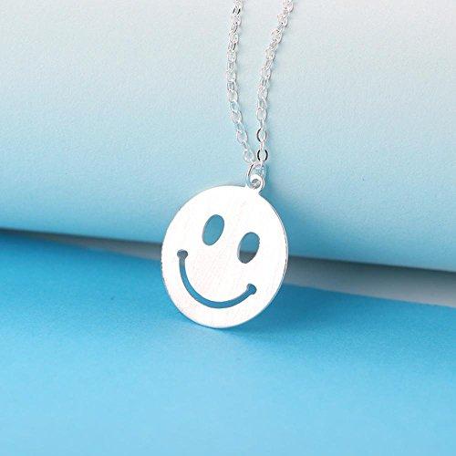 Axiba 925 Sterling Silber Kurze Bauform Halskette Emoji Positive Energie Smiley Schlüsselbein Kette Das schönste Geschenk
