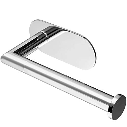 Polarduck Self Adhesive Toilet Roll Holder Chrome, 3M Toilet Roll Holder, SUS 304 Stainless Steel, Toilet Paper Roll Holder No Drilling for Bathroom & Kitchen (Silver)