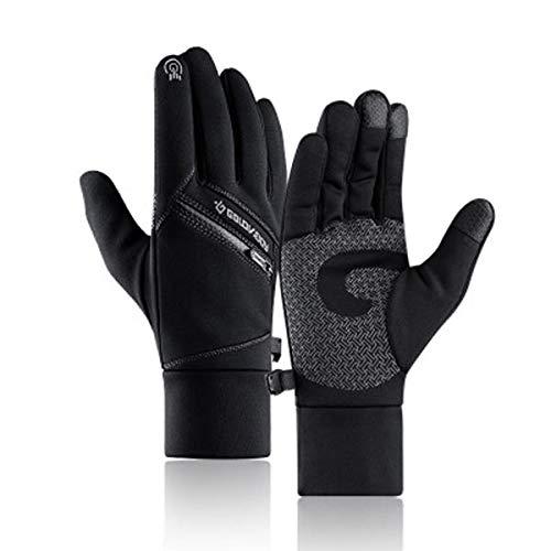HTQZW Cálido Invierno Negro Guantes de la Pantalla Multi-Touch con Fines Bolsillo de la Cremallera Impermeable Dedo Lleno Manoplas Antideslizantes (Color : XL)
