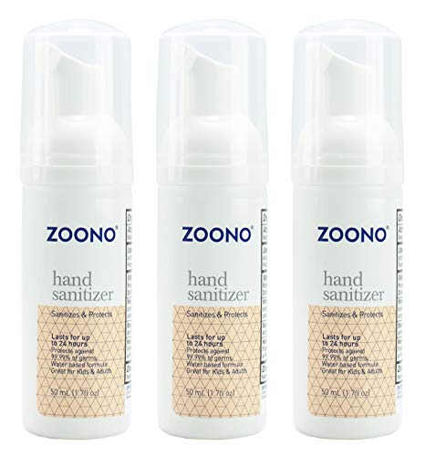 ZOONO 24 Hour Hand Sanitizer Foam - Keeps Killing 99.9% of Germs for All Day Protection - Travel Size 1.7 Fl Oz, 3-Pack