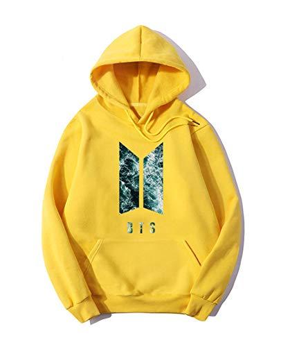 KPOP BTS Suéter 3D Impreso Ugly Unisex Fashion Sport Sweatshirt Love You Tops Pullover Tops Pullover Suave Cómodo Manga Larga Hombres Mujeres Amarillo (Color : A, Size : Medium)