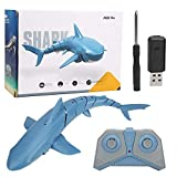 Dilwe RC Simulación Barco de Juguete, 1:18 2.4G Control Remoto 4 Canales USB Recargable Juguete Tiburón Impermeable(Azul)