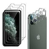 laxikoo 6 Pack Protector de Pantalla Compatible con iPhone 11 Pro, 3 Cristal Templado + 3 Protector de Lente de cámara, [Marco de Alineación Incluido] Sin Burbujas Anti-arañazo HD Vidrio Templado