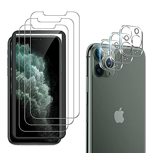 laxikoo 6 Stück Panzerglas für iPhone 11 Pro Schutzfolie (5,8 Zoll), 3 Stück Kamera Schutzfolie und 3 Stück Schutzglas Mit Positionierhilfe 9H Härte HD Klar Glas für iPhone 11 Pro Displayschutz