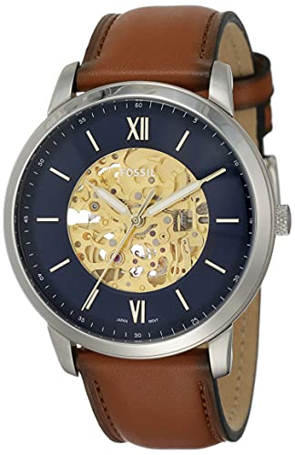 Fossil Men's Neutra Automatic Stainless Steel and Leather Three-Hand Watch, Color: Silver, Luggage (Model: ME3160)